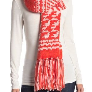 Free People Mile High Fleece Fringe Red Scarf NEW!